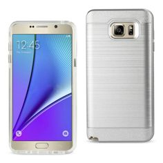 Reiko Samsung Galaxy Note 5 Hybrid Metal Brushed Texture Case Silver