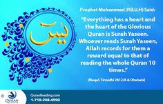 Quran is the greatest marvel and blessing of Allah Almighty, which He has bestowed upon mankind. In this Book, a person can find solution to any problem and answer to all the questions provided that a person views and analyzes it objectively. - See more at: http://www.quranreading.com/blog/rewards-and-benefits-of-recitingmemorizing-surah-yaseen/#sthash.IYo0TZ9I.nOuW10Zf.dpuf