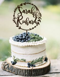 Wedding Cake Topper Wreath Names Rustic Cake Topper Wedding