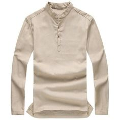 Autumn Winter Long-sleeved Ventilated Solid Color Linen Cotton Leisure... ($19) ❤ liked on Polyvore featuring men's fashion, men's clothing, men's shirts, men's casual shirts, khaki, men shirts, mens slim fit shirts, mens casual short-sleeve button-down shirts, mens slim shirts and mens long sleeve shirts