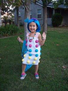 "Dot Candy - white dress, ""dots"" by pinning or gluing Styrofoam balls that you have painted various different colors, colorful wig, tights, plus 60 Fun and Easy DIY Halloween Costumes Your Kids Will Love"