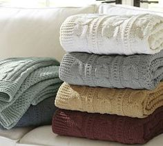 Chenille Seedstitch Cable Border Knit Throw