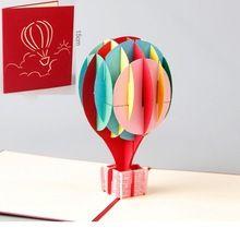 Brand Ballon 3D Laser Cut Pop Up Papier Vakantie Handgemaakte Vintage Post Kaarten Custom Wenskaarten Valentijnsdag Geschenken(China (Mainland))