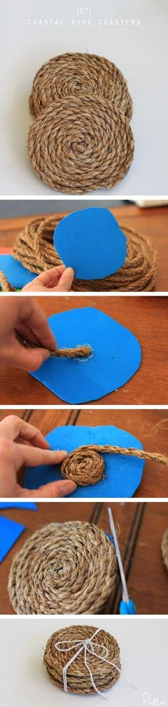 5.  DIY Coastal Rope Coasters!