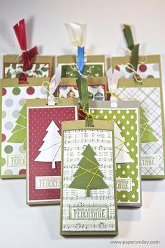 Weihnachtliche Schokoladen-Ziehverpackung mit Material von Stampin' Up!