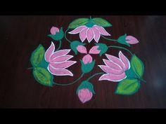 Simple lotus flower rangoli 5×3 dots - YouTube Sanskar Bharti Rangoli Designs, Kolam Rangoli, Flower Rangoli, Free Hand Rangoli Design, Rangoli Designs Diwali, Kolam Designs, Rangoli With Dots, Simple Rangoli, Indian Rangoli