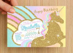 Unicorn Invitation #3 -- PERSONALISED invitation -- girls birthday invitation