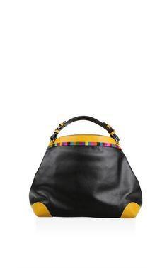 Large Black And Yellow Cubo Calf Leather Top Handle Bag by Caroline de Marchi for Preorder on Moda Operandi