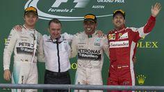 Nico Rosberg, Paddy Lowe, Lewis Hamilton, Sebastian Vettel, Circuit of the Americas, 2015