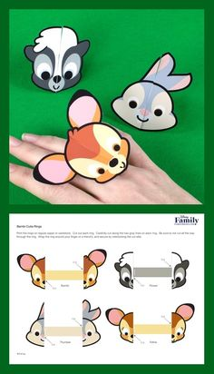 Bambi and his friends are cute, but they've never looked cuter than they do on these cutie rings. They make the perfect accessory for any little Bambi fan! 3d Paper Crafts, Diy Arts And Crafts, Paper Toys, Crafts To Do, Diy Crafts For Kids, Paper Art, Kindergarten Art Projects, Disney Printables, Thinking Day