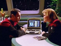 Janeway and Chakotay...let's work together...or just stare into into each other's eyes.