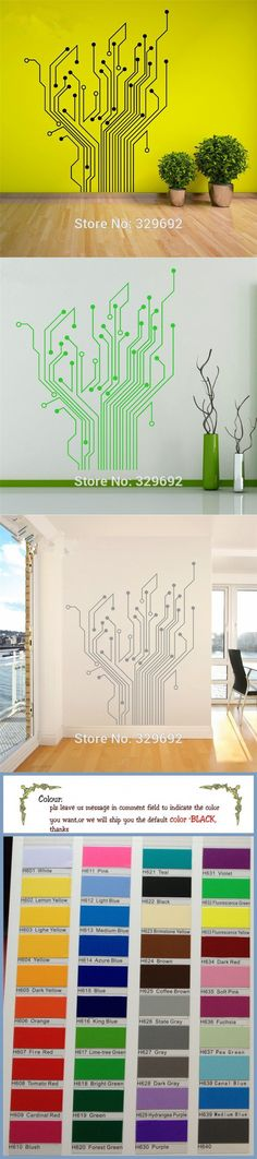 Circuit Tree Contempory Art Mural Wall Stickers Home Decor Stikers For Wall Decoration Let The Whole Room Full Of Technology DIY $8.99