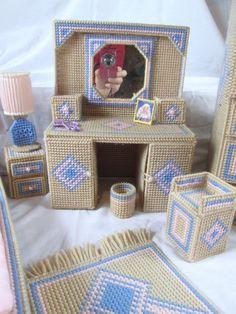 Plastic Canvas Barbie Doll Southwest Bedroom Furniture Set Completed | eBay