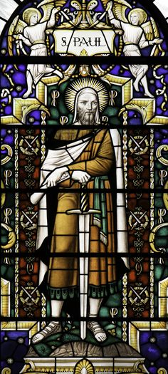 Let us celebrate the conversion of St Paul, the apostle. He who was a persecutor of the Church has become God's chosen instrument. – Benedictus antiphon for the Feast of the Conversion of St Paul.  Stained glass by Webb from the church of St Lawrence Jewry in London.