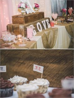 rustic candy table with burlap runner  http://www.weddingchicks.com/2013/10/02/family-farm-wedding/