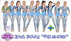 "Annett's Sims 4 Welt: Jeans Blouse ""Patchwork"""