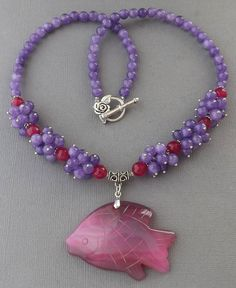 Carved fish-pink Agate gemstone pendant,purple Agate beads handcrafted jewelry necklace