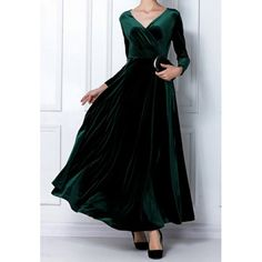 Elegant V-Neck Long Sleeve Maxi Velvet Dress For Women, BLACKISH GREEN, XL in Maxi Dresses | DressLily.com