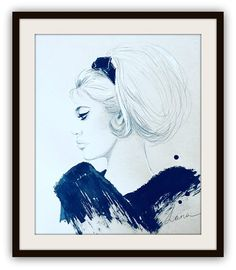 Bardot Noir Art Print, Classic Wall Art, Fashion Illustration, Noir Drawing, Contemporary Decor, Retro Bridgitte Bardot Famous Hairstyle