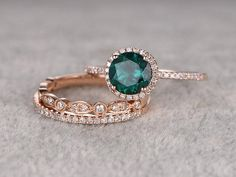 3pcs Emerald Engagement ring Set!14k rose gold,Diamond wedding band,7mm Round Cut,Bridal Ring,Retro Vintage,Art from popRing on Etsy.