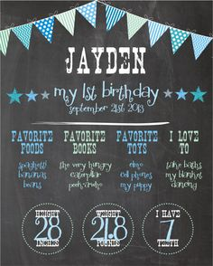 First Birthday All About Me Board for BOYS