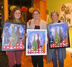 Framed Funky Wine paintings!