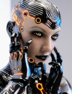 System 46 is a highly detailed level 4 sculpted morph for Genesis 3 Female, she comes as full Android & Half Human morphs. The suit is a Geometry Shell allowing for use on any Genesis 3 Female enabling the use of their own skins for face and torso, Mode Cyberpunk, Cyberpunk Kunst, Cyberpunk 2077, Cyborg Girl, Arte Robot, Robot Girl, Ex Machina, Sci Fi Characters, Shadowrun