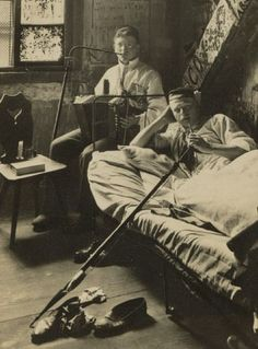 Students at the University of Heidelburg take a break from their studies while smoking opium (c. 1900)