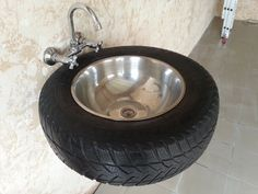 A Sink...That Is Also A Tire | 13 Ways to Build A Badass Man Cave For The Ultimate Escape