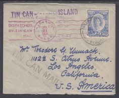 Tonga Sc 58 on 1936 Tin Can Mail Cover to Los Angeles w/ enclosure