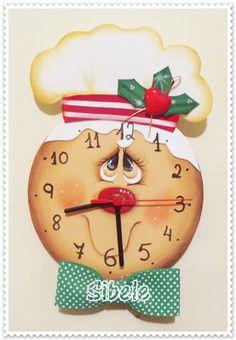 Sibele: Relógio Ginger Christmas Clock, Christmas Makes, Christmas Wood, Christmas Time, Vintage Christmas, Christmas Crafts, Christmas Ornaments, Gingerbread Ornaments, Christmas Gingerbread