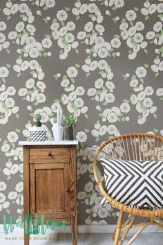 DESCRIPTION Transform any room in your home into a floral with this adhesive wallpaper! This vinyl wallpaper features a beige sakura flower wall decals. Sakura