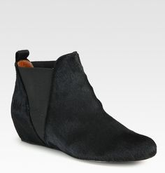 Pony Hair Flat Ankle Boots