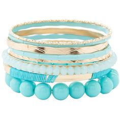 Charlotte Russe Beaded & Wrapped Bangle Bracelets ($6) ❤ liked on Polyvore featuring jewelry, bracelets, turquoise, hinged bangle, beaded bangles, bracelets bangle, beaded bangle bracelet and stacking bangles