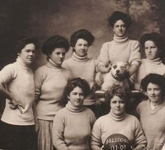 Pit bull type dogs show up as sports mascots wherever vintage photos surface.    This team called themselves 'the Bulldogs' and the photo celebrated their 1907-08 season.     Do you recognize a relative in here? If you do, we want to buy you a margarita to toast your awesome family genes!