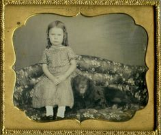 Beautiful Daguerreotype of a Lovely Girl & Her Big Black Dog on Sofa by McELROY!