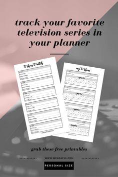 Free TV Show Tracker Inserts | Wendaful Designs