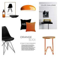 """BLACK & ORANGE"" by canvas-moods ❤ liked on Polyvore featuring interior, interiors, interior design, home, home decor, interior decorating, Toast, Lola James Harper, L'Objet and FontanaArte"