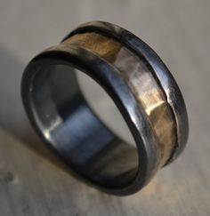 rustic fine silver and brass ring - handmade oxidized and hammered artisan designed wedding or engagement band - customized on Etsy, $255.00