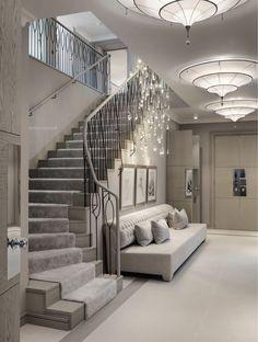 Dream Home Design, Home Interior Design, Interior Decorating, Decorating Tips, Deco Design, Design Design, Design Ideas, Staircase Design, Foyer Staircase