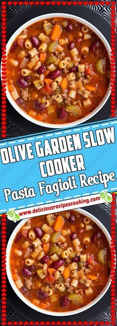 Olive Garden Slow Cooker Pasta Fagioli Recipe - healthy recipes list of dishes and heart healthy recipes slow cooker recipes healthy Pasta Fagioli Recipe Slow Cooker, Slow Cooker Pasta, Crock Pot Slow Cooker, Crock Pot Cooking, Slow Cooker Recipes, Crockpot Ideas, Cooking Pork, Heart Healthy Crockpot Recipes, Crockpot Recipes Pasta