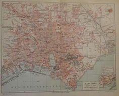 1896 MARSEILLE FRANKREICH alte Landkarte Karte Antique Map Lithographie