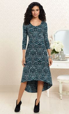 Teal Away: Hi Low Midi Dress in Amore Print #SomaIntimates #deepteal