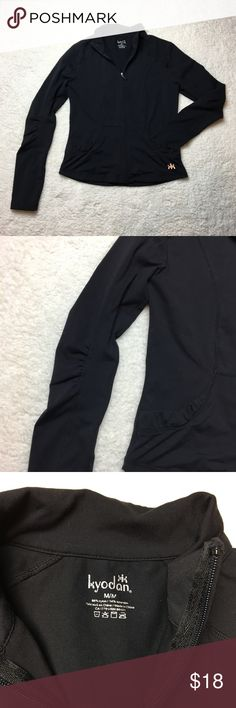 Black kyoden workout jacket This is the perfect jacket for a chilly fall or winter workout or to wear around on a cool day. Very stretchy and comfortable. Zips all the way up the front. I️ ❤️ offers! Kyodan Jackets & Coats