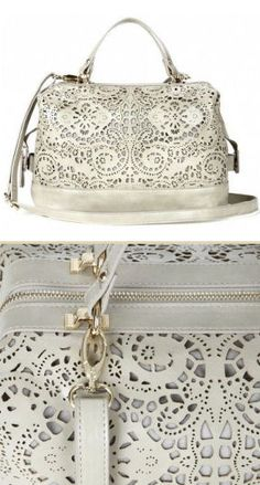 White Laser Cut Lace Satchel <3