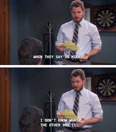 When he quietly but sternly highlighted the need to know what's in our food. | 23 Moments That Prove Andy Dwyer Is Secretly A Genius