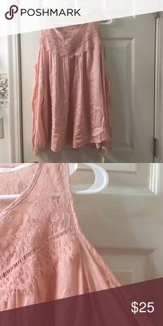 NWT! NEVER WORN LACE COLD SHOULDER TOP New with tags! Very cute pink color with lace around the neck and wrists. From Kohls Tops Blouses