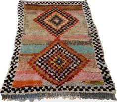 "82""X54"" Vintage Moroccan rug woven using different scraps of used textiles / boucherouite / boucherouette"