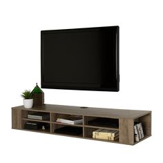 Open up your living room space and give it a superb airy look with the help of this South Shore City Life Weathered Oak Media Storage. Ikea Tv Console, Wall Mounted Media Console, Media Storage, Storage Spaces, Storage Shelves, Wall Mount Tv Stand, Tv Set Design, City Furniture, Furniture Storage