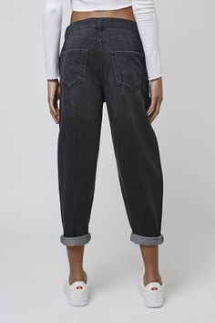 For the girl who loves to borrow from her boyfriend, the MOTO Oversized Boyfriend Jean comes detailed with a slouchy fit and oversized feel. Crafted from our signature-soft washed black cotton, they feature multiple practical pockets and authentic denim trims. #Topshop